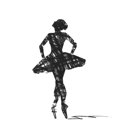 白い背景のダンサーの抽象的なシルエット