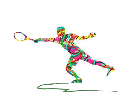 tenis: silueta del jugador de tenis Vectores
