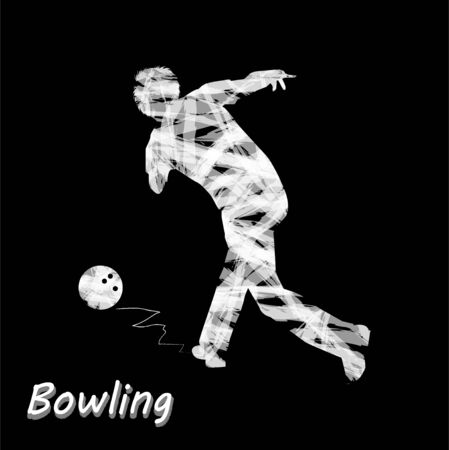 illustrates: abstract silhouette of bowler