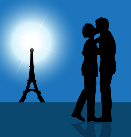 parisian: loving couple kissing, and Eiffel Tower in the background