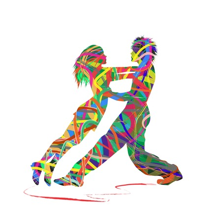 abstract silhouette of dancers