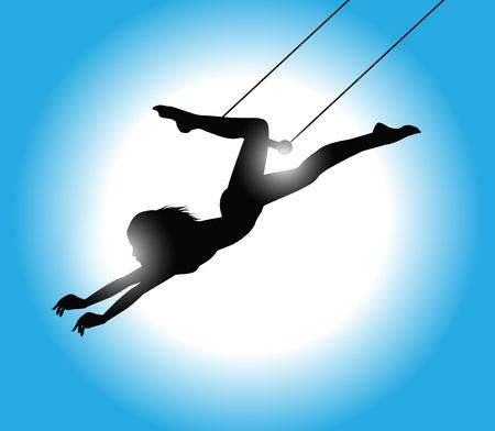 grabbing: illustration of a beautiful Trapeze artist in action
