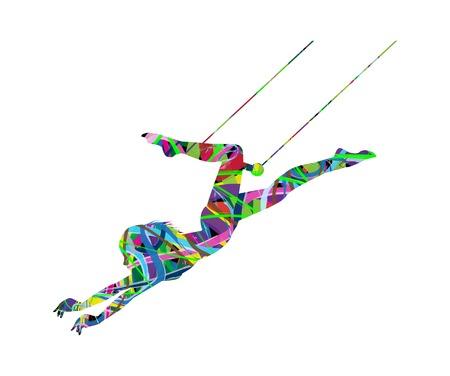 アクションで美しい空中ブランコのアーティストのイラスト