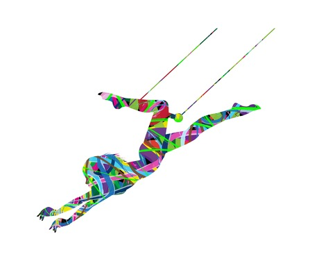 illustration of a beautiful Trapeze artist in action