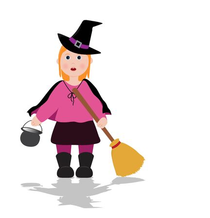 enchantment: little girl dressed as a witch for halloween Illustration