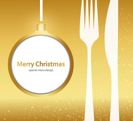 Kerstmenu op gouden achtergrond