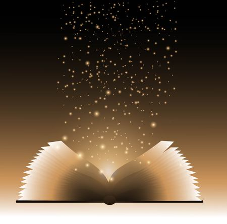 book background: Image of opened magic book with magic lights Illustration