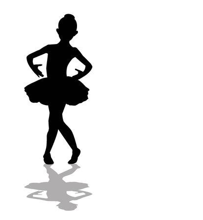 silueta niño: Poca silueta de la bailarina Vectores