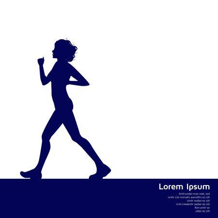 gait: silhouette of woman walking
