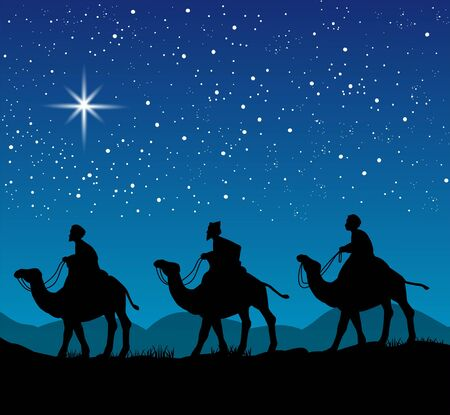 magus: Christian Christmas scene with the three wise men and shining star, illustration