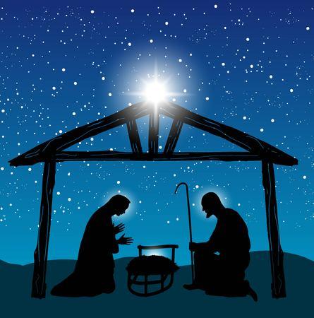 pesebre: Navidad cristiana pesebre con el niño Jesús en el pesebre en silueta, y la estrella de Belén
