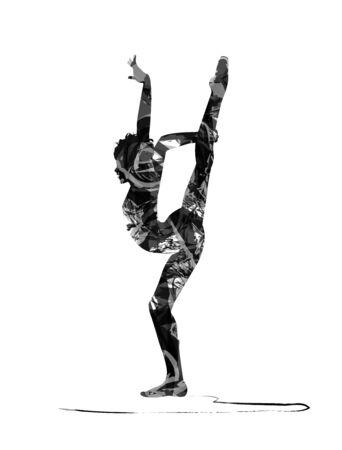 acrobat: silhouette of acrobat dancer