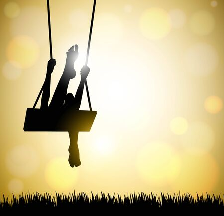silhouette of happy young woman on a swing with abstract background