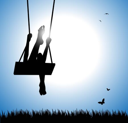 lawn chair: silhouette of happy young woman on a swing Illustration