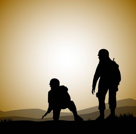 mimetic: silhouette of soldiers in backlight Illustration