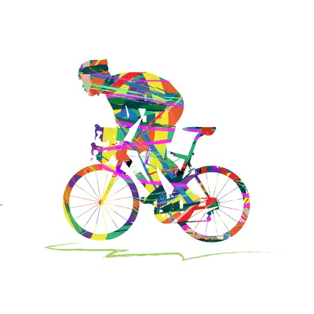 abstract cyclist on the white background 矢量图像