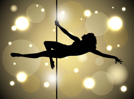 pole dancing: Silhouette of a female pole dancing Illustration