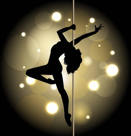 pole dance: Silhouette of a female pole dancing Illustration