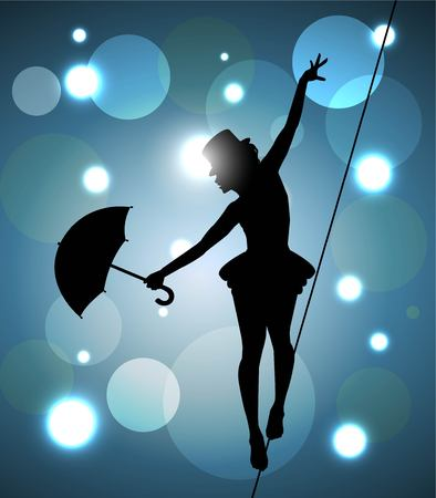 tightrope walker girl with umbrella balancing on the wire