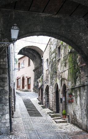 terni: alley in the old town of Narni in Umbria, beautiful town in the province of Terni in Italy Stock Photo