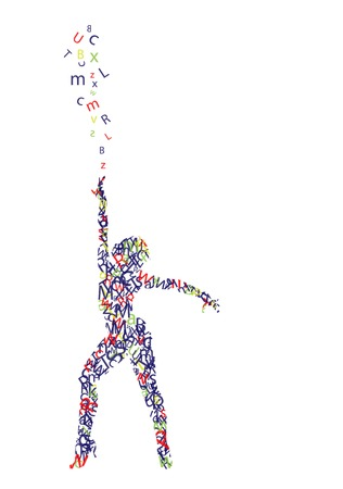 silhouette of woman composed of letters Illustration