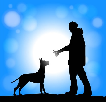 caress: silhouette of man and dog playing with a ball