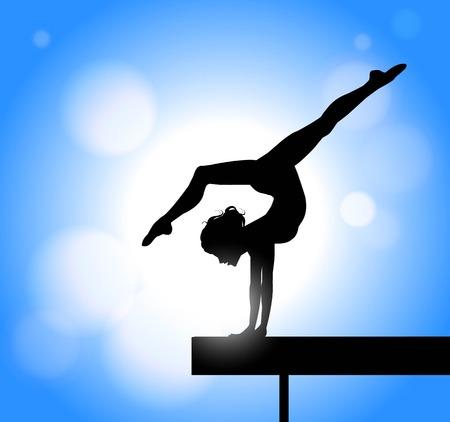 silhouet van een meisje die gymnastiek oefenen op de balk