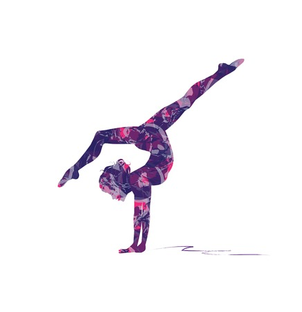 abstract silhouette of girl who practice gymnastics on the beam