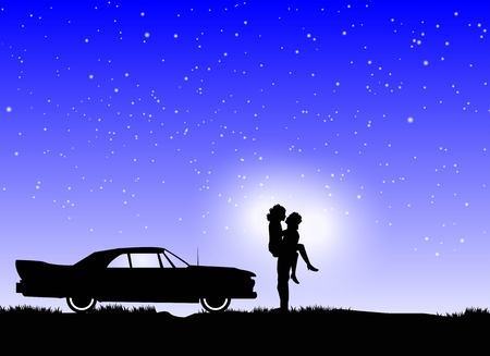tender passion: couple in love on a starry night with vintage cars in the background Illustration
