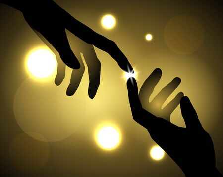 coincidence: silhouette of hands that touch your fingers