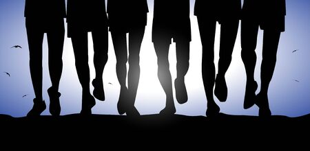 legs male silhouette running in group Illustration