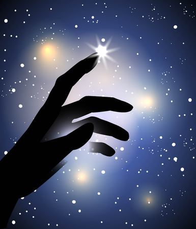 enchantment: hand silhouette touching with a finger a star in the sky