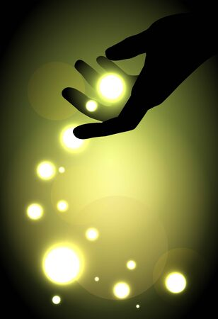 enchantment: hand silhouette and balls of light
