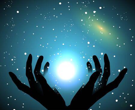 空と星に触れる手のシルエット