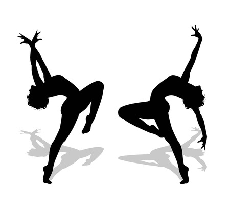 lady silhouette: dancers silhouettes on white background Illustration