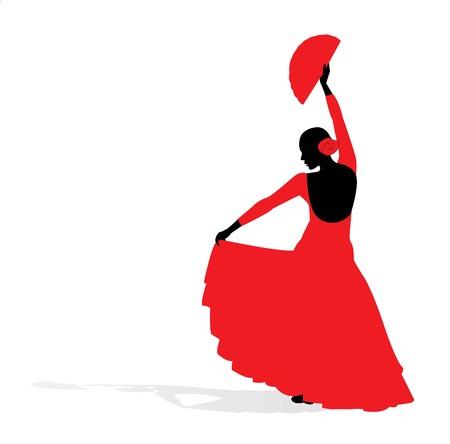 danseuse flamenco: Danseuse de flamenco silhouette