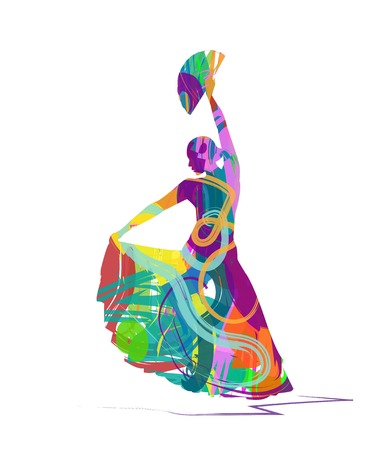 danseuse de flamenco: abstrait Flamenco dancer silhouette Illustration