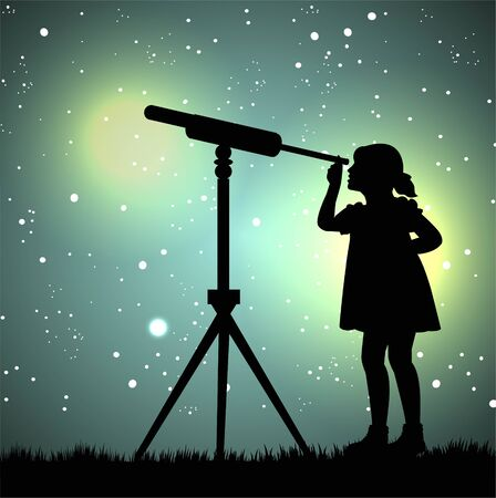 silhouette of girl looking through a telescope at the stars Stock Illustratie
