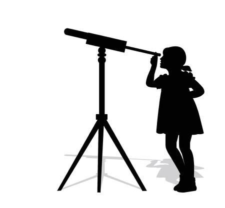 silhouette d'une jeune fille regardant à travers un télescope