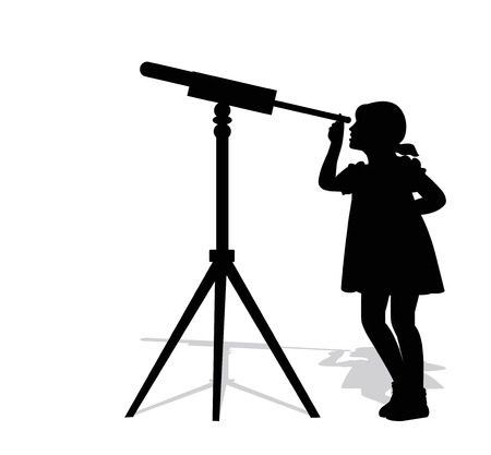 wench: silhouette of girl looking through a telescope