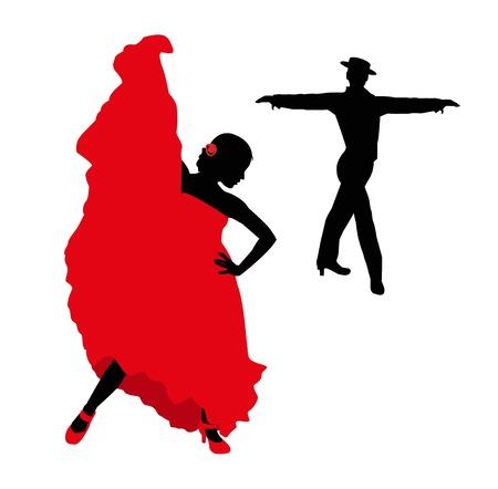 Flamenco danserssilhouet Stock Illustratie