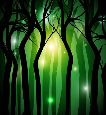 bosque negro misterioso con las luces en el fondo