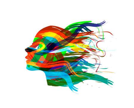 cabeza femenina: Femenino abstracto pista de la silueta Vectores