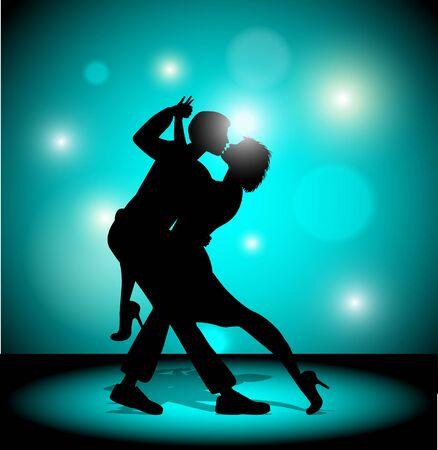 Vector illustration. A couple dancing the tango.
