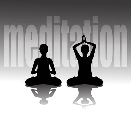 meditating: Vector illustration of silhouette practicing yoga, meditating in Lotus Pose Illustration