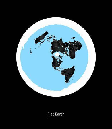 intention: Flat Earth  Old Vision of Planet Illustration