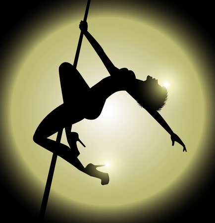 silhouette of woman practicing pole dance Stok Fotoğraf - 63224469