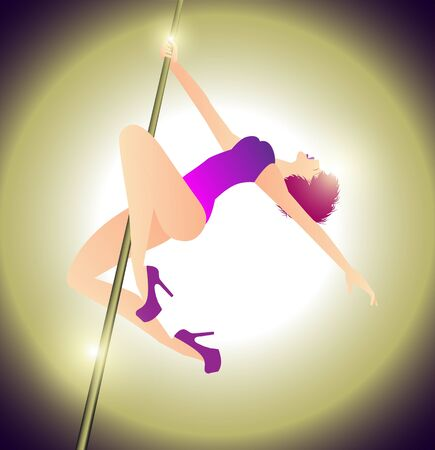 pole dance: illustration of woman practicing pole dance