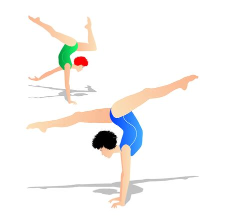 practices: illustration of a young athlete who practices gymnastics