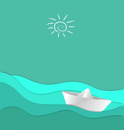 paper boat: vector illustration with sea and paper boat Illustration